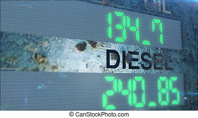 Digital DIESEL and OIL counter count up on a rusted metal...