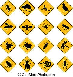 rodent and pest signs - set of warning signs