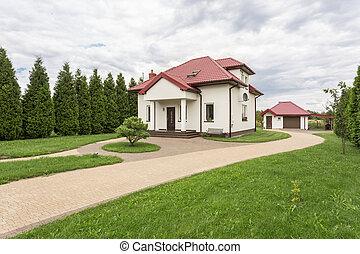 White villa with a porch idea