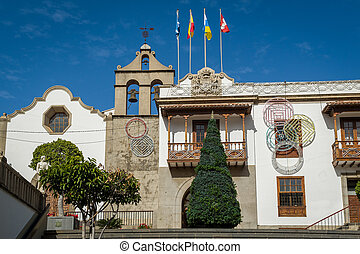 Icod de los Vinos historical center and bell tower. Tenerife...