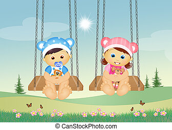 brothers on swing