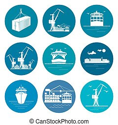 Set of Marine Freight Transportation Icons - Ocean Freight...