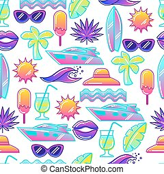 Seamless pattern with stylized summer objects. Abstract...
