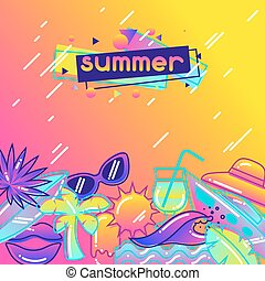 Background with stylized summer objects. Abstract...