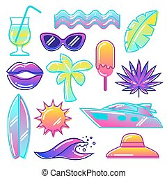 Set of stylized summer objects. Abstract illustration in...