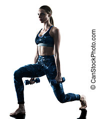 woman fitness weights excercises silhouette