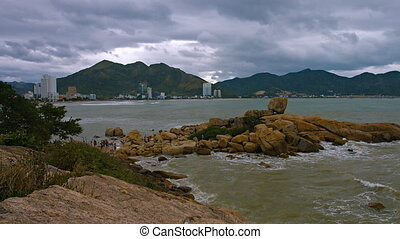 Nha Trang, Vietnam, Hon Chong rocks. Shot with slow panning....