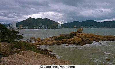 Nha Trang, Vietnam, Hon Chong rocks. Shot with slow panning....