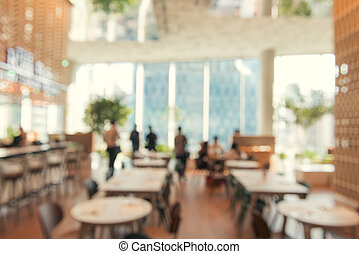 Blurred background - Vintage filter Customer in Coffee shop blur background with bokeh.