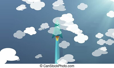 """Cartoon Flat rocket flying up"" - ""Cartoon Flat rocket..."