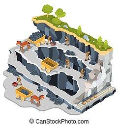 Isométrico, cantera, minería, Ilustración, carbón,  vector
