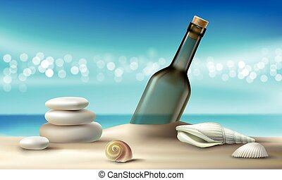 Vector illustration of a glass bottle with a message lying on a sandy beach with seashells and pebbles.