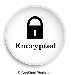 Encrypted icon. Encrypted website button on white...