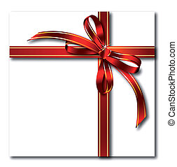 Gift red bow on gold tape. Vector