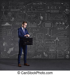 Businessman with briefcase. Schematic background. Business...