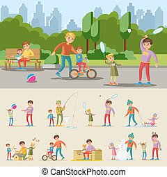 Happy Fatherhood Concept - Happy fatherhood concept with...