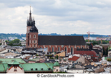 Aerial view of the Church of St. Mary in Krakow. Basilica...