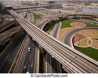 Aerial view of Highway Junction in Dubai, UAE