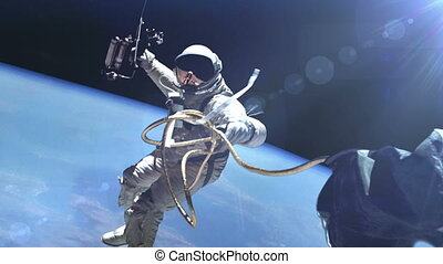 """Astronaut in outer space."" - ""Astronaut in outer space..."