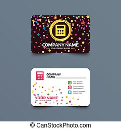 Calculator sign icon. Bookkeeping symbol. - Business card...
