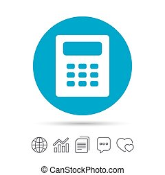 Calculator sign icon. Bookkeeping symbol. Copy files, chat...
