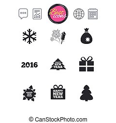 Christmas, new year icons. Gift box, fireworks. - Chat...