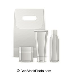 Set of blank package for cosmetic product isolated on a white background