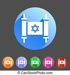 Torah jewish scroll book icon flat web sign symbol logo...