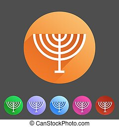 Menorah hanukkah icon flat web sign symbol logo label