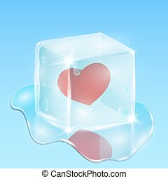 Frozen in a cube of ice heart. Waiting for love. Composition on the day of the holy valentine