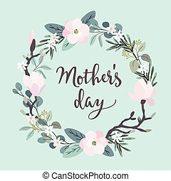 Mothers day greeting card, invitation. Brush script,...