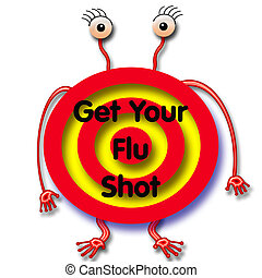 flu shot humbug - flu germ with angry eyes red target on...