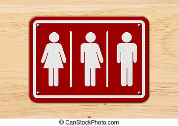 All inclusive transgender sign, Red and white sign with a...