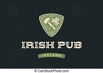 Classic retro styled label for Irish Pub with logo and text...