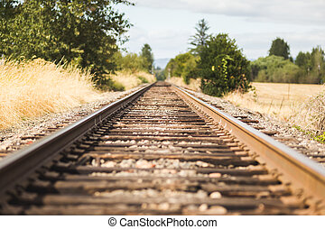 Tilt-Shift Train Tracks - Wood and steel train tracks in a...