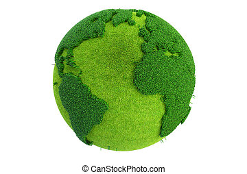 Grass Earth Globe, 3D rendering isolated on white background