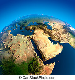 View of the Middle East from Space - Egypt, Sudan, Ethiopia,...