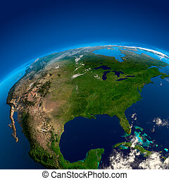 North America, the view from the satellites - Mexico, US and...