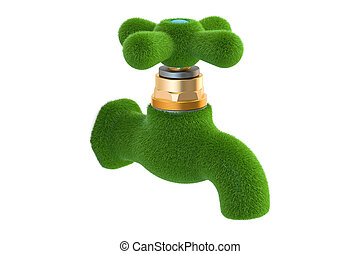 Water tap from grass. Eco concept. 3D rendering isolated on...