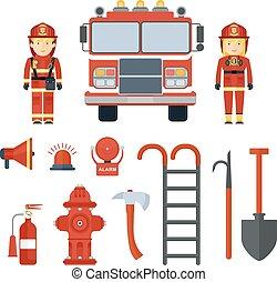 set of fire equipment fireman
