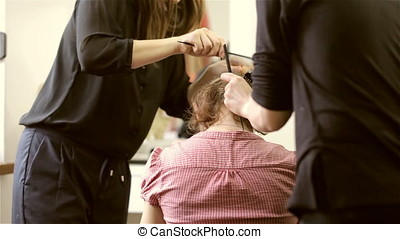 Woman is coloring hair in salon. Beauty and change