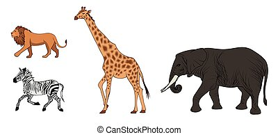 Colorful African Wild Animals Set