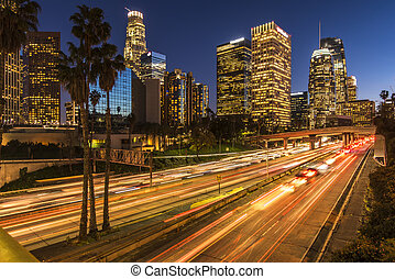 Traffic in downtown Los Angeles California at night