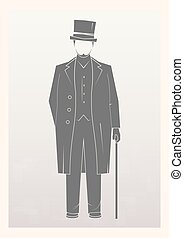 Gentleman. A man in a hat isolated on background. Vector...