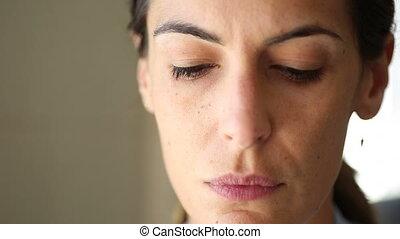 Sad woman open eyes