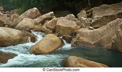 River in Vietnam Flows around Boulders, with Sound