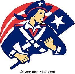 Female American Minuteman Holding Flag Retro - Illustration...