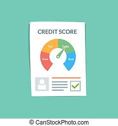 Credit score document vector concept. Personal credit history of the customer on a paper sheet. Good index of credit history and approved stamp. Flat vector illustration isolated on color background.