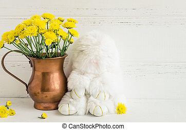 blanco, flores, Pascua, composición, conejo