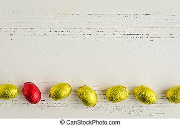 huevos, Pascua, composición,  chocolate